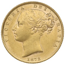 1872 Gold Sovereign - Victoria Young Head Shield Back - London