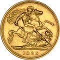 1896 Gold Half Sovereign - Victoria Old Head - London