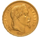 1866 20 French Francs - Napoleon III Laureate Head - A