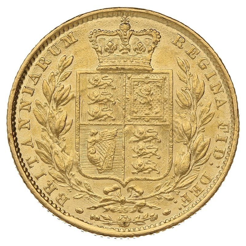 1864 Gold Sovereign - Victoria Young Head Shield Back - London
