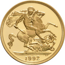 1992 £2 Two Pound Double Sovereign Proof Gold Coin Boxed