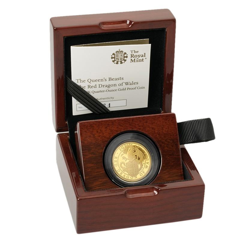 2018 1/4oz Quarter Ounce Proof Dragon Gold Coin Queen's Beasts Boxed