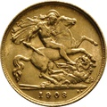 1908 Gold Half Sovereign - King Edward VII - London