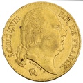 1818 20 French Francs - Louis XVIII Bare Head - A