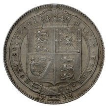 1892 Queen Victoria Silver Milled Shilling