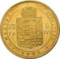 20 Franc 8 Forints Hungarian Franz Joseph I 1870-1892 KB