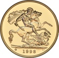 1998 - Gold £5 Brilliant Uncirculated Coin