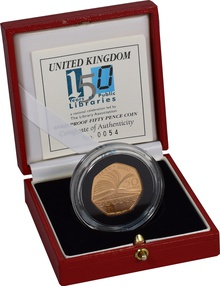 Gold Proof 2000 Fifty Pence Piece - Public Libraries Boxed