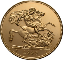 1999 - Gold £5 Brilliant Uncirculated Coin Boxed