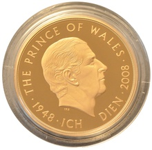 2008 - Gold £5 Proof Crown, Prince of Wales 60th Birthday Boxed