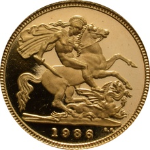 1986 Gold Half Sovereign Elizabeth II Third Head Proof