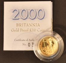 2000 Proof Britannia Tenth Ounce Gold Coin Boxed
