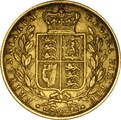 1855 Gold Sovereign - Victoria Young Head Shield Back - London