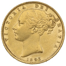 1863 Gold Sovereign - Victoria Young Head Shield Back - London
