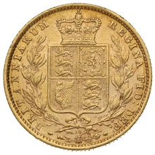 1871 Gold Sovereign - Victoria Young Head Shield Back - London