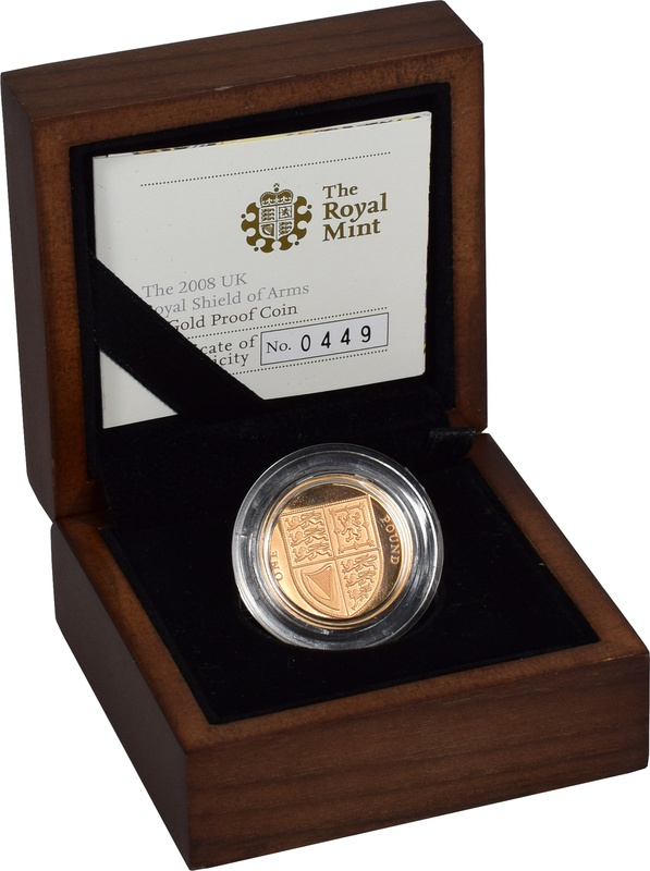 2008 UK Royal Shield of Arms £1 Gold Proof Coin Boxed