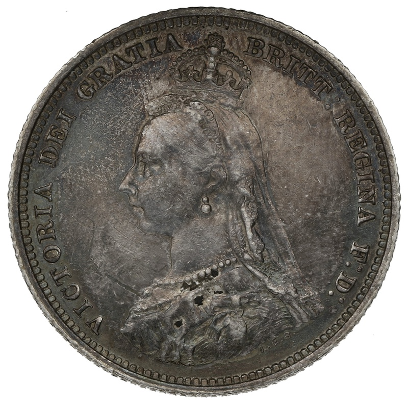 1887 Queen Victoria Silver Shilling - Good Very Fine