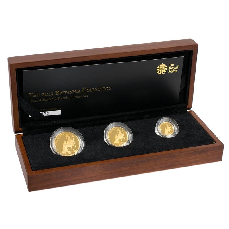 Premium 2013 Proof Britannia Gold 3-Coin Set Boxed