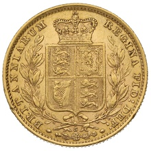1884 Gold Sovereign - Victoria Young Head Shield Back - S