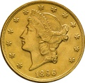 1896 $20 Double Eagle Liberty Head Gold Coin, Philadelphia