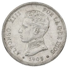 1905 Alfonso XIII Silver 2 Pesetas