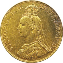 1887 Jubilee Head £5 Gold coin Very Fine {1-26-001A}