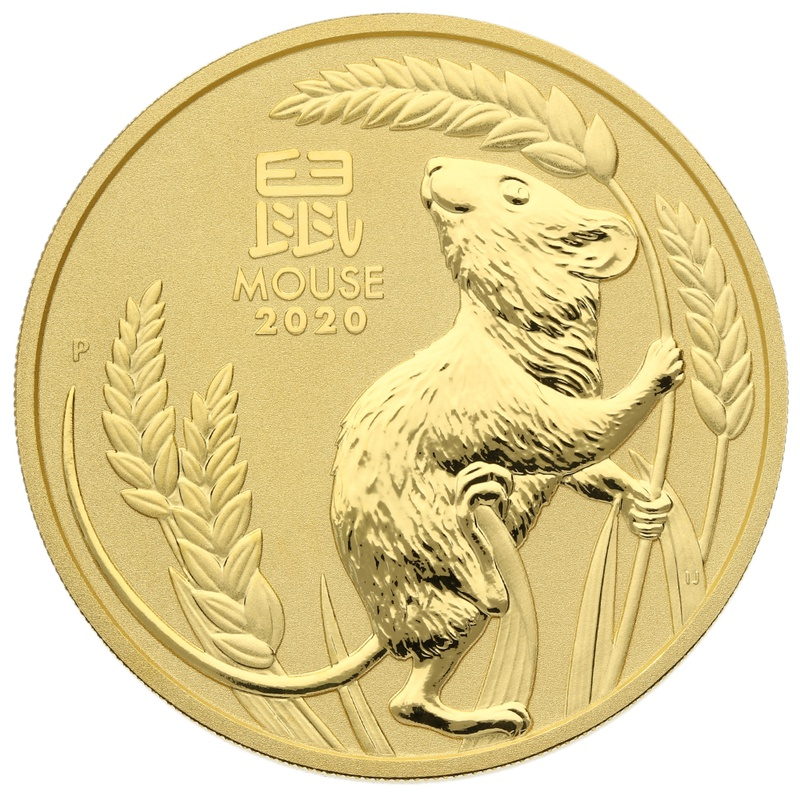 2020 2oz Perth Mint Year of the Mouse Gold Coin