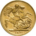 1891 Gold Sovereign - Victoria Jubilee Head - London