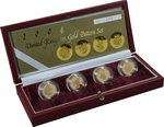 Gold Proof 2004 £1 One Pound Pattern Set Heraldic Beasts Boxed