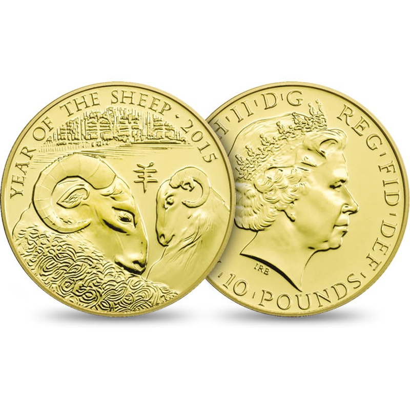2015 Royal Mint 1/10th Oz Year of the Sheep Gold Coin