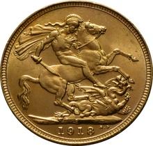 1918 Gold Sovereign - King George V - S