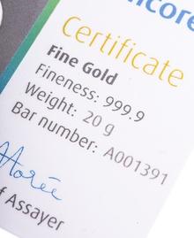 Umicore 20 Gram Gold Bar