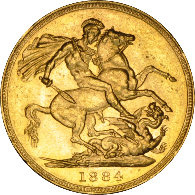 1884 Gold Sovereign - Victoria Young Head M NGC MS61+