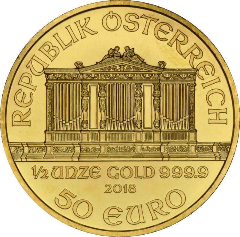 2018 Half Ounce Austrian Gold Philharmonic Coin