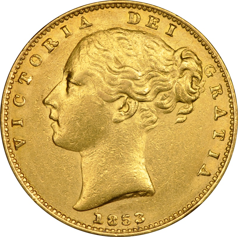 1853 Gold Sovereign - Victoria Young Head Shield Back - London