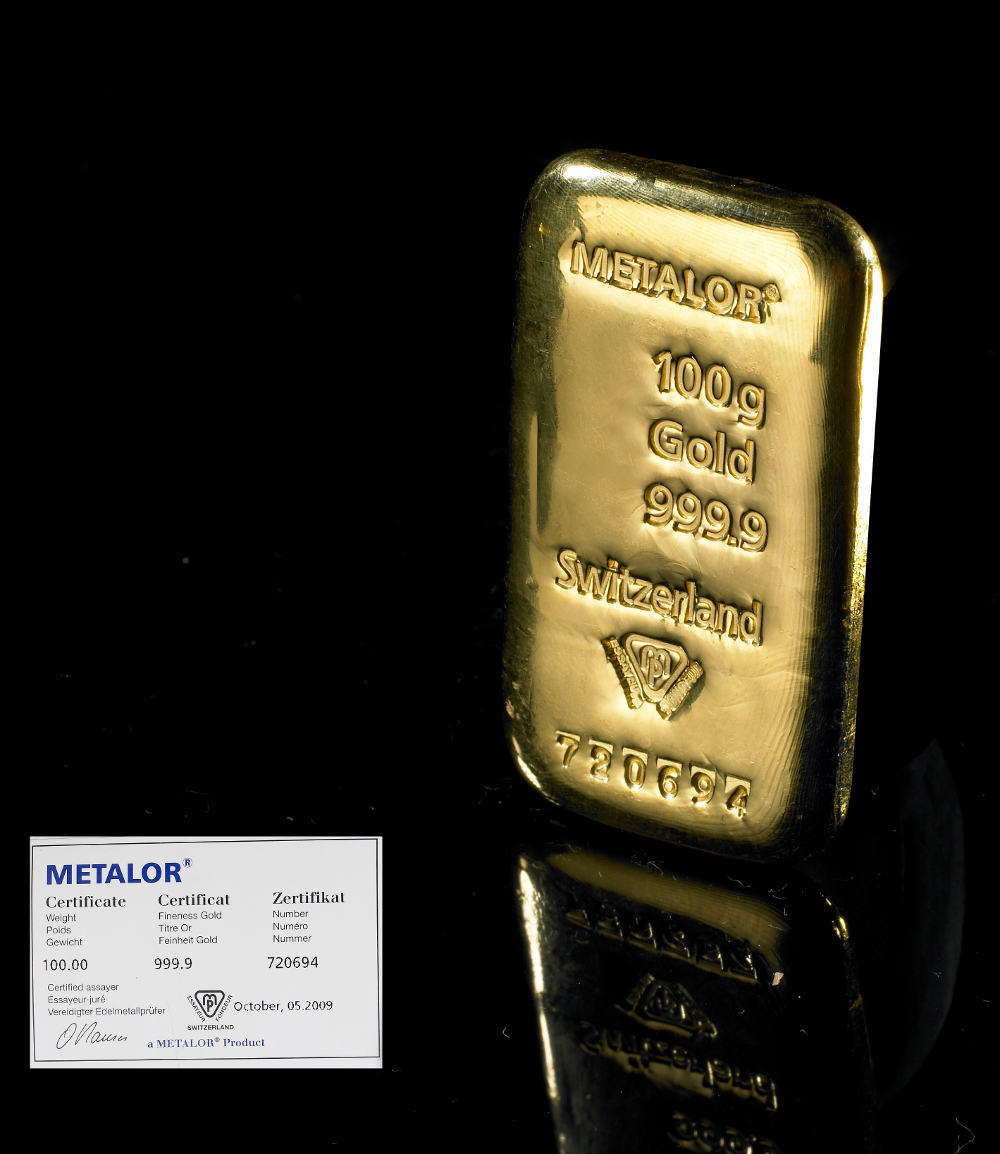 Metalor 100g Gold Bars Bullionbypost From 163 2 603