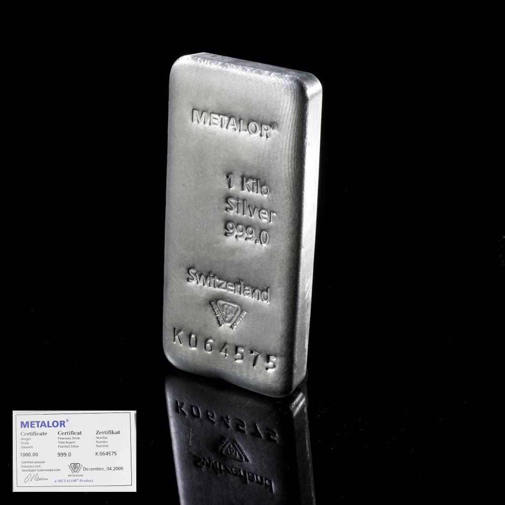 1 Kilo Swiss Silver Bullion Bar By Metalor Bullionbypost