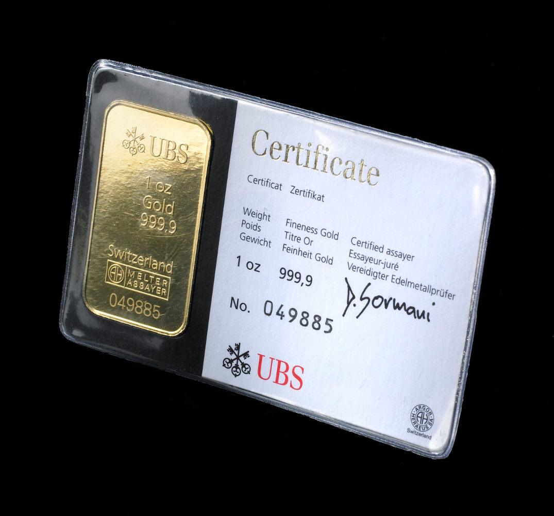 UBS 1 Ounce Gold Bar