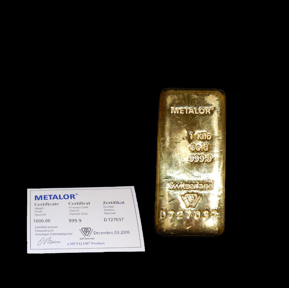 Metalor 1kg Gold Investment Bars Bullionbypost From 163