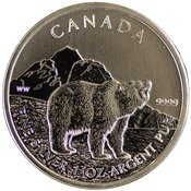 1oz Silver Canadian Grizzly Bear Bullion Coin