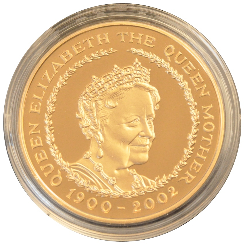 2002 Gold Five Pound Proof Coin Queen Mother Memorial