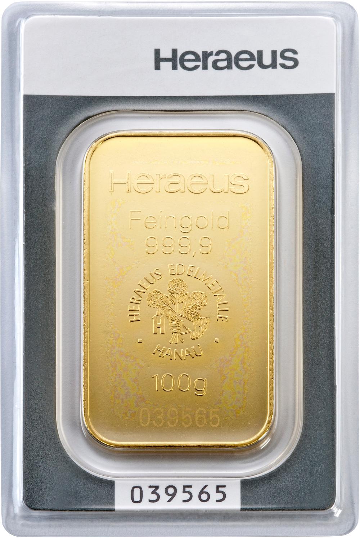 100g Heraeus Gold Bullion Bars Bullionbypost From 163 2 538