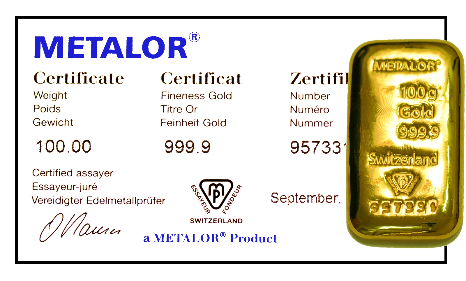 Metalor 100g Gold Bars Bullionbypost From 163 2 544