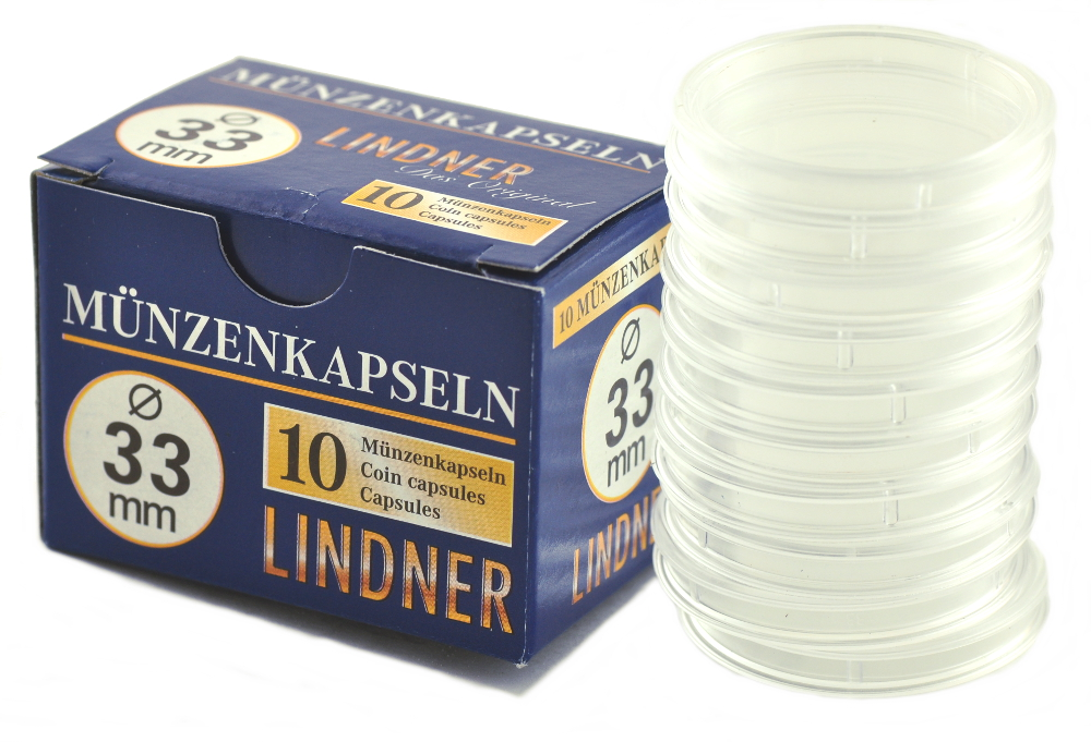Lindner 33mm 1oz Gold Coin Capsules 10 Box