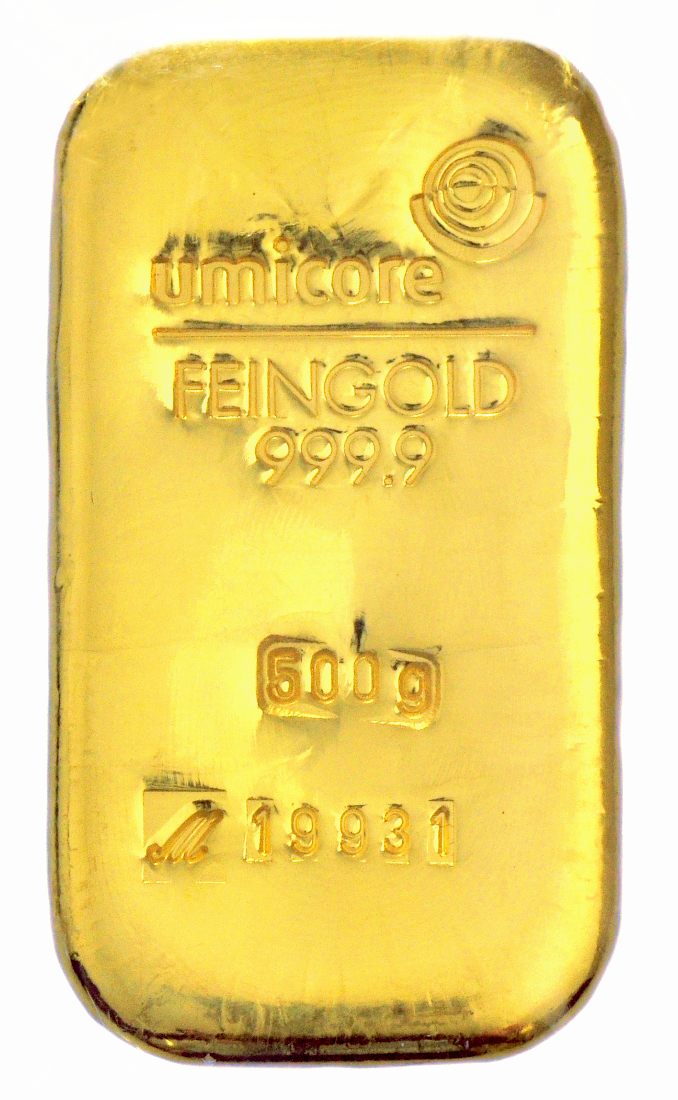 500g Umicore Gold Bars Bullionbypost From 163 12 812