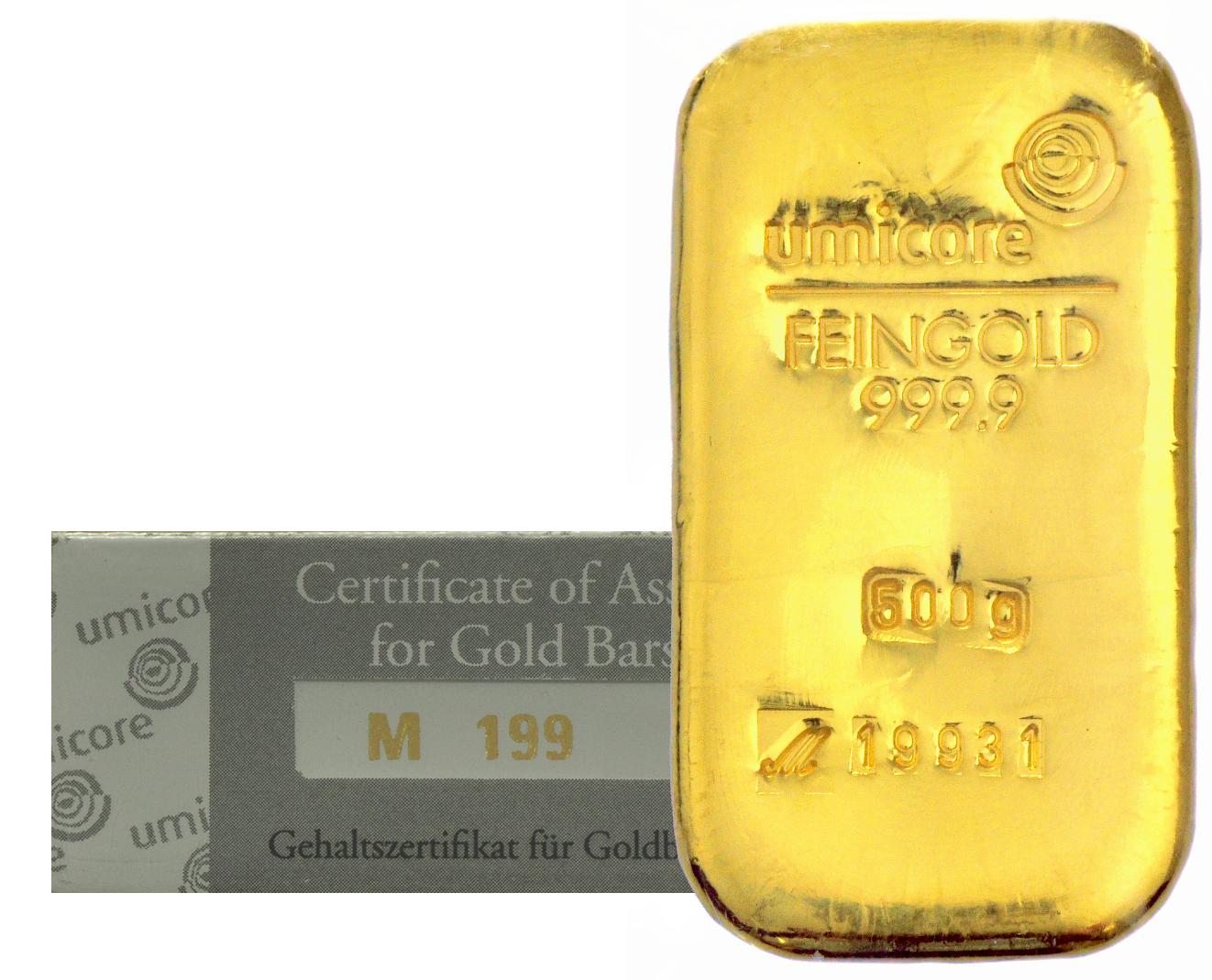 500g Umicore Gold Bars Bullionbypost From 163 13 243