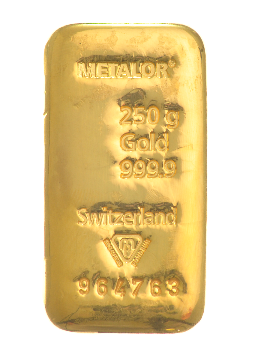 250g Metalor Gold Bar Bullionbypost From 163 6 428