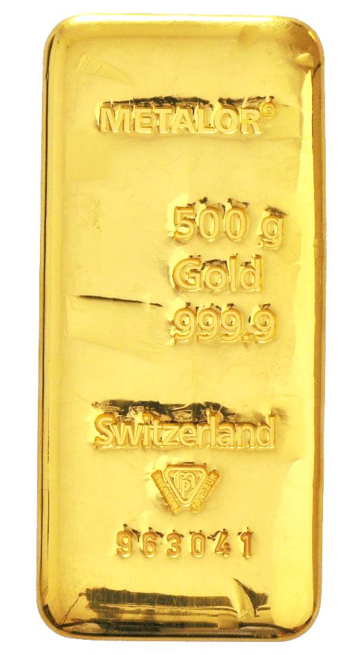 Metalor 500 Gram Gold Bar
