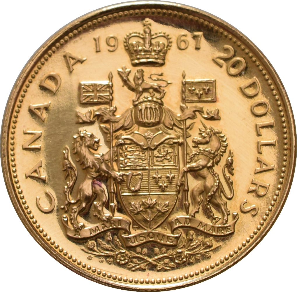 Canadian 20 Independence Centenary 1967 Gold Coin 163 626
