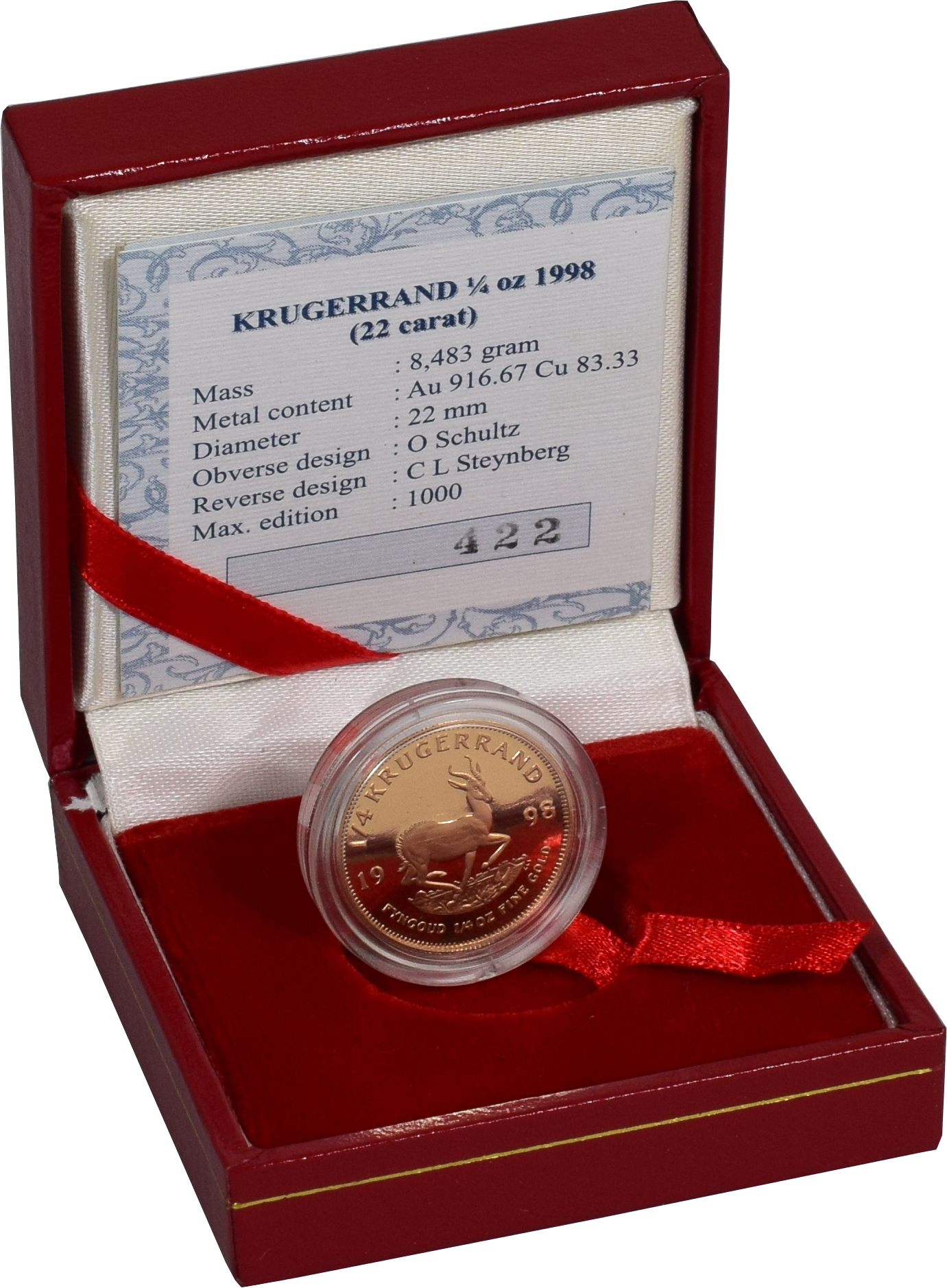 1998 1 4oz Gold Proof Krugerrand Boxed With Coa 163 453